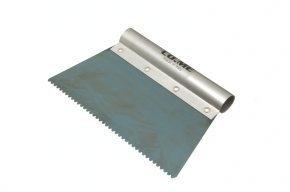 Шпатель зубчастий загартована блакитна сталь з алюмінієвою ручкою CO.ME 111BO (200мм)
